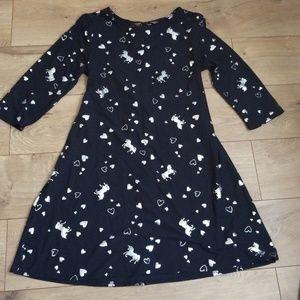 Justice Girls Dress Size 12/14 UNICORN Hearts